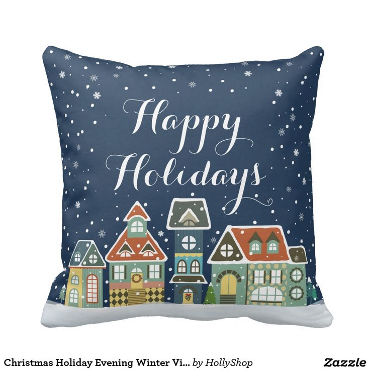 Christmas Holiday Evening Winter Village Scene Throw Pillows
