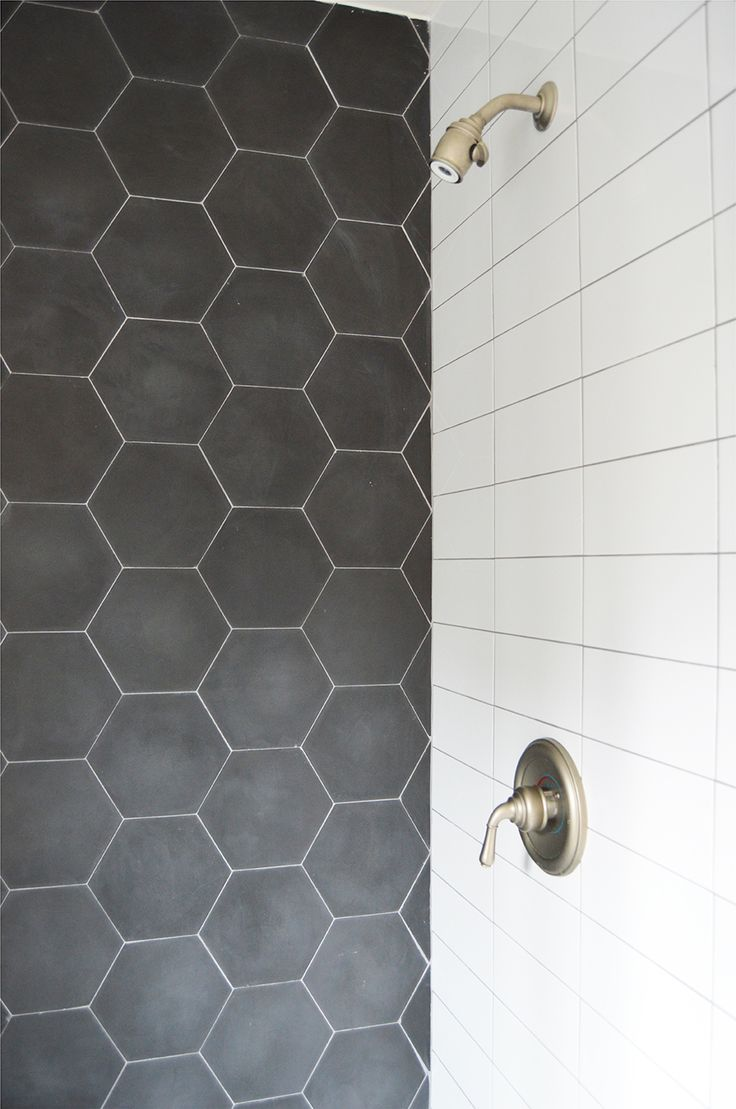 like the charcoal tile as a shower accent could tie into design of upstairs bathroom