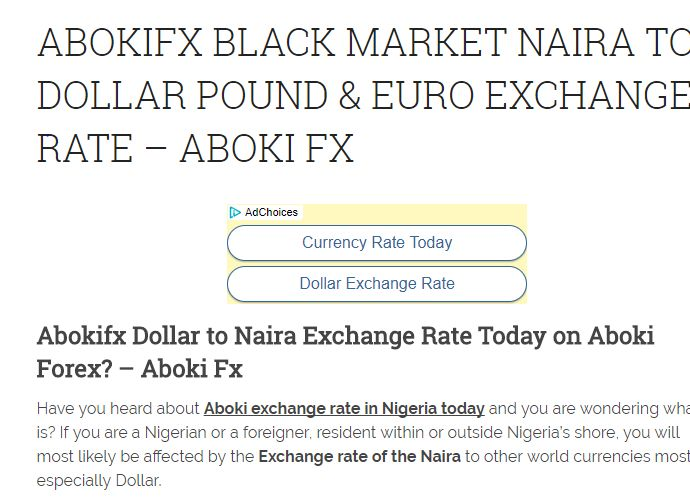 Exchange rate for naira