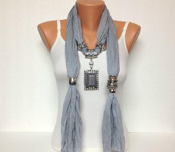 grey jewelry scarf - gorgeous stone pendant