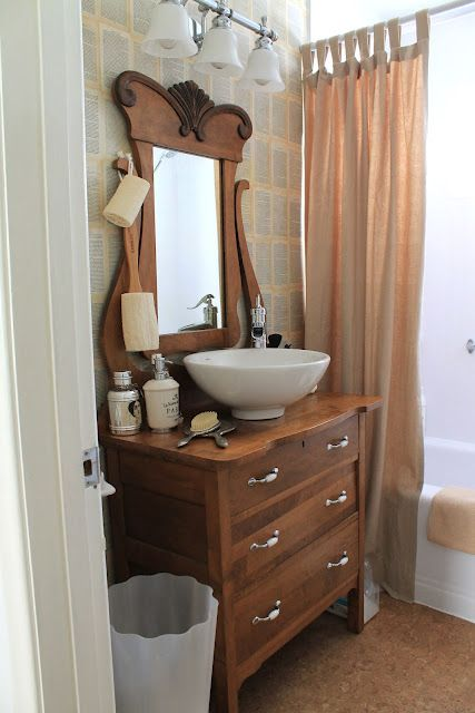 my Vintage Bathroom Makeover. frankie and I transformed a dresser into a vanity with white vessel sink.