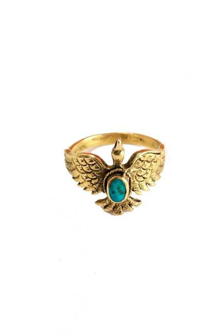 Bague aigle plaqué or et pierre turquoise