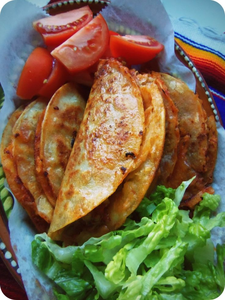 Tacos de Canasta Filled with Spicy Potatoes and Cheese ~ via Hispanic Kitchen