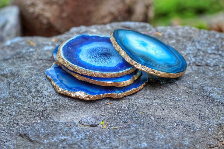 """Treat yourself to some beautiful Agate Coasters! These Coasters are perfect for any coffee table & make even better Housewarming gifts, Wedding Gifts, or Christmas Gifts! These Agate Coasters come in all sorts of colors including Gold or Silver edging! We love the vibe these Agate Coasters have added to our home and know you will too!     HOW TO ORDER:  >>> IF YOU WOULD LIKE YOUR COASTERS TO BE A CERTAIN COLOR-put in the """"notes"""" when you purchase if you would like certain colors. We hold…"""