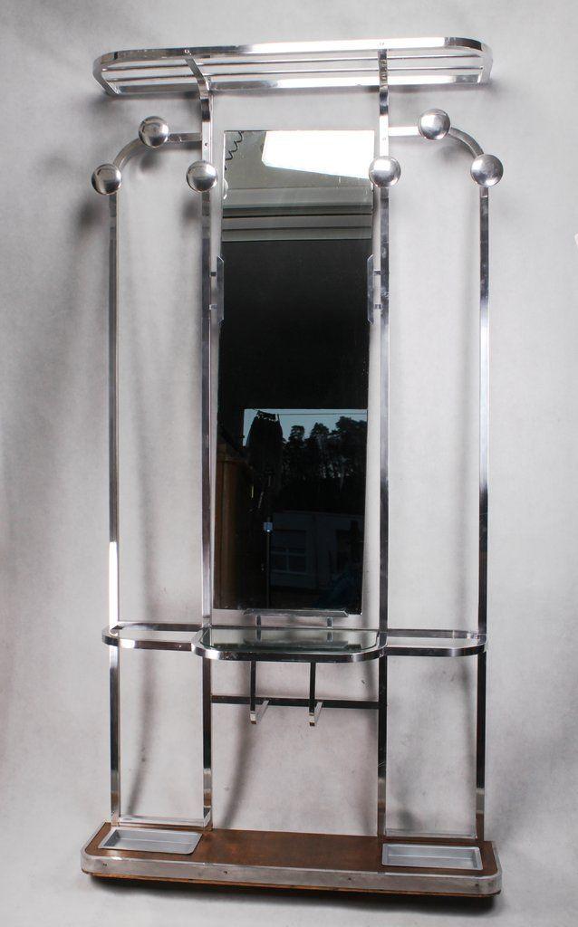 Xl Art Deco Standgarderobe Vintage Garderobe Coat Rack Wandgarderobe Art Deco Aluminium