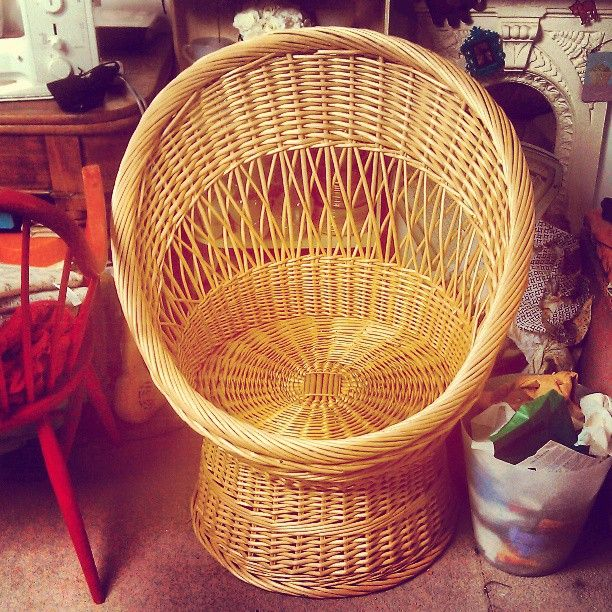 I need this in my life! #70s #bubble #chair #wicker #groovy #retro #comfy #chill - @mini_red