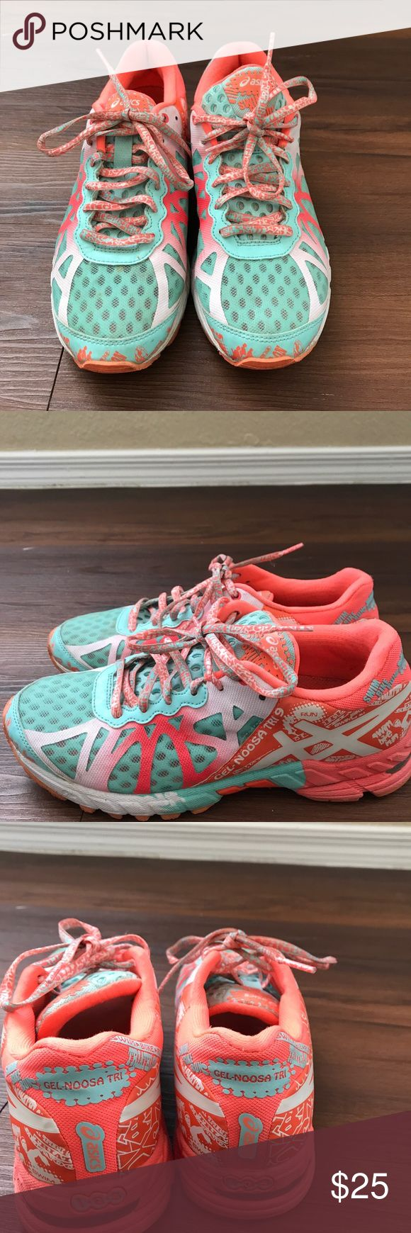 Womens asics gel-noosa tri 9 size 7 orange/blue Womens asics. Size 7. Have been worn a but but in good condition. Turquoise and coral colored. Lace up sneaker. Gel - noosa tri 9 Asics Shoes Athletic Shoes