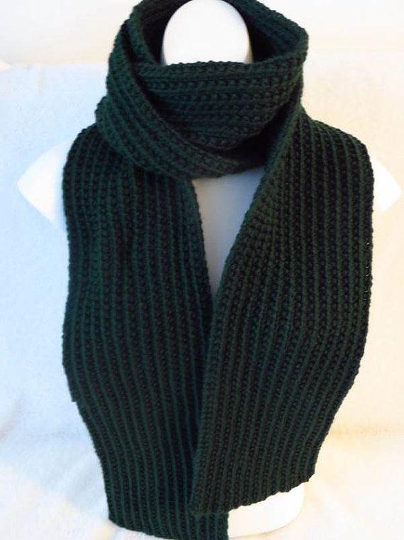 Dark Green Hand Knit Scarf Mens or Womens Scarf Rib Knit