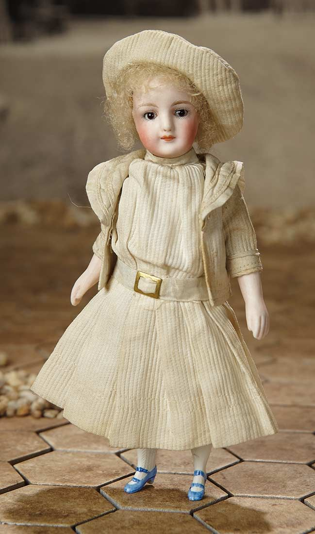 """""""Fascination"""" - Sunday, January 8, 2017: 279 German All-Bisque Miniature Doll with Original Pique Costume"""