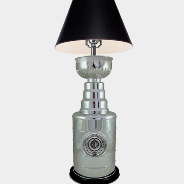 Cool lamp for a hockey room or hockey-loving boys room.