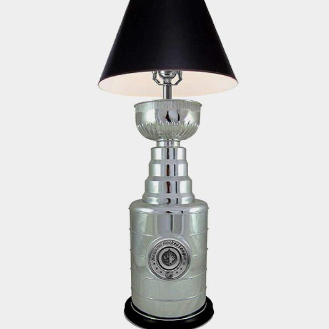 Cool lamp for a hockey room or hockey-loving boys room.