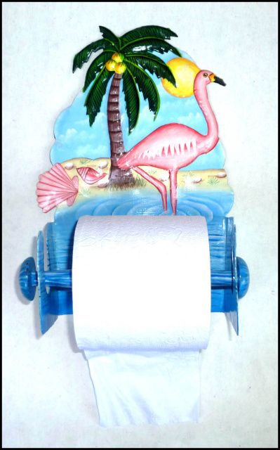 "Pink Flamingo Painted Metal Toilet Paper Holder - Tropical Bathroom Decor - 8"" x 11""  -- See more hand painted metal tropical designs for the home at www.TropicAccents.com"