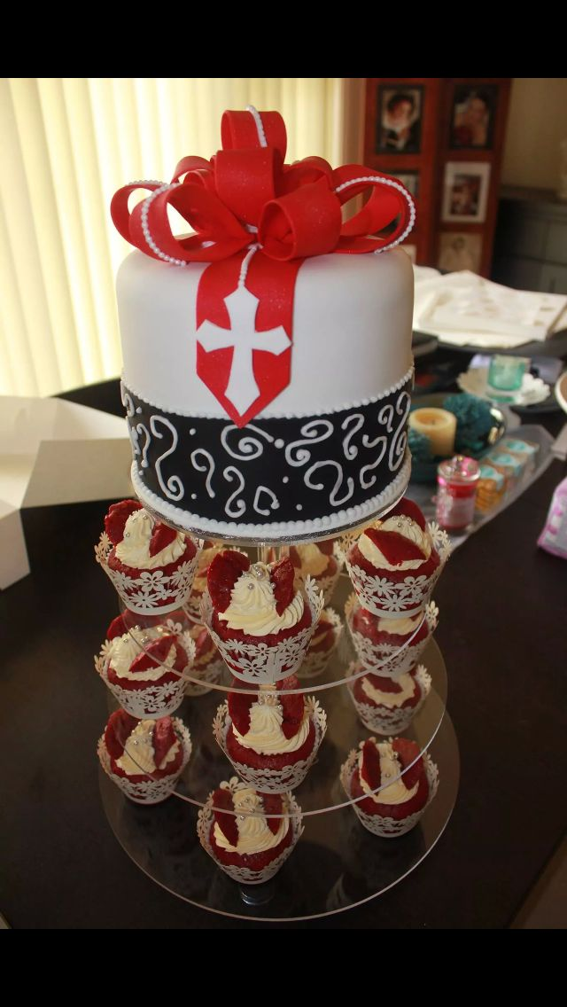 Confirmation Cake & red velvet fairy cakes.