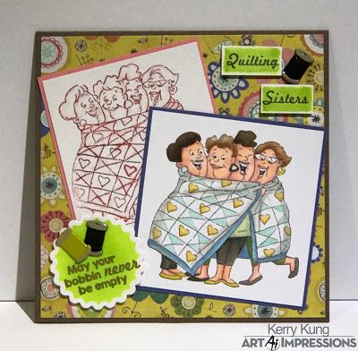 Art Impressions Rubber Stamps: Ai Girlfriends: Quilt Set (sku#4544) Girlfriends all wrapped up in a quilt. Handmade card.