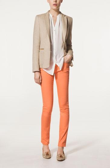 Linen Blazer, coloured denim, love this look