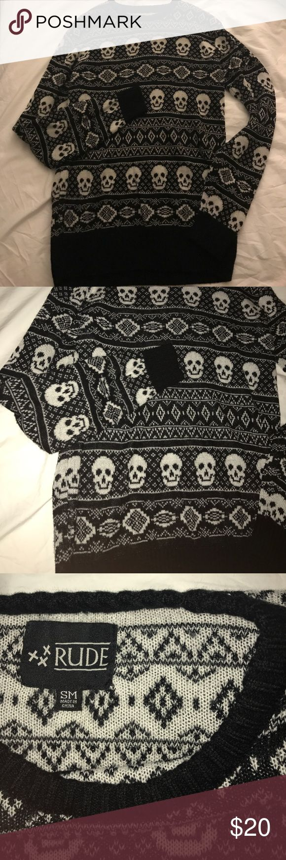"Hot Topic Skull Sweater! Barely worn very comfy skull sweater. on the longer side, im 5'7"" and wear this with leggings. Its a small but stretchy, im normally a medium. Bundle for a cheaper price ✨💜 Hot Topic Sweaters"