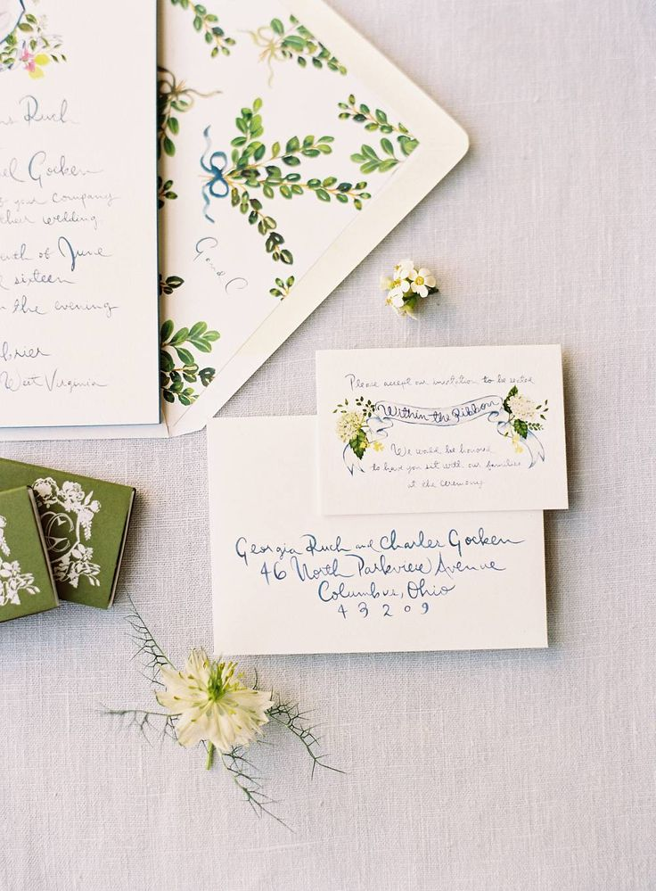 whimsical green and botanical wedding invitation suite