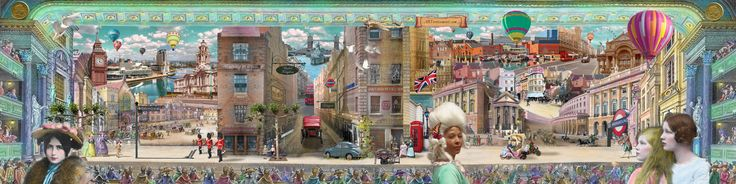 Showing the life (present & past) in London, Birmingham, Bristol, Manchester and Glasgow within a theatre setting. Collage by ARTvertisements.com, a co-operation between Barbara van Druten & Niki Koutouras. Like? Please visit https://www.talenthouse.com/i/619/submission/158799/5a36d3ee and click the heart! #TheUltimateCanvas for Primesight