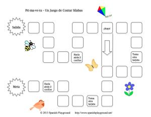 Printable Spanish Game for Kids – Primavera Clap and Count Syllables