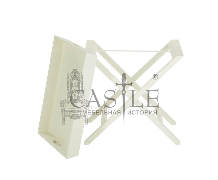 Сервировочный столик из массива в стиле Прованс. Столик с необычным дизайном, Х-образные ножки. Верхняя часть столика съемная, имеет две ручки и может использоваться как поднос для подачи напитков или завтрака. Исполнен в белом цвете с патиной.