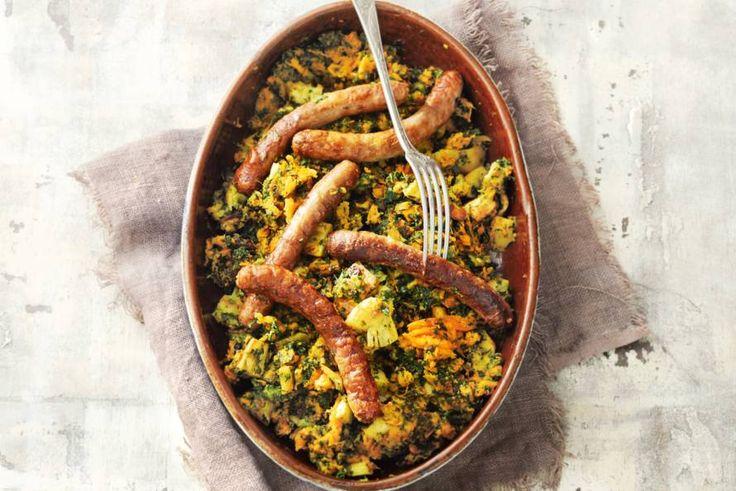 16 november - Biologische runderchipolata + zoete aardappelen + boerenkool + handsinaasappels = stamppot nieuwe stijl in de bonus - Recept - Allerhande
