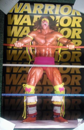 WWE Official Ultimate Warrior Poster Vintage from 1989 WWF WCW NWO TNA Rare | eBay - I had this one on my wall - always scared my mum