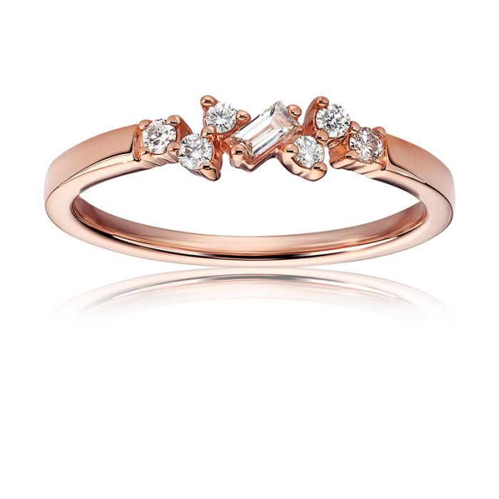 Round Baguette Alternating Ring In 10k Rose Gold Morganite Earrings Jewelry For Her Jewelry