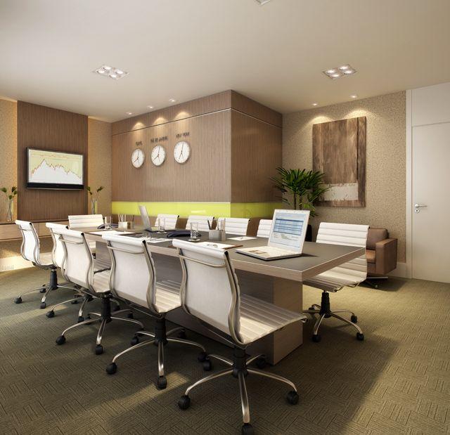 Perspectiva ilustrada da sala de reunião.