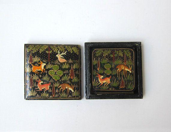 Vintage Indian kashmir hand painted deer paper mache laquerware coaster set.
