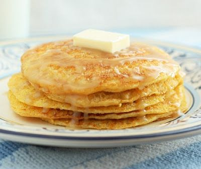 Cornbread Pancakes with Honey Butter Syrup.