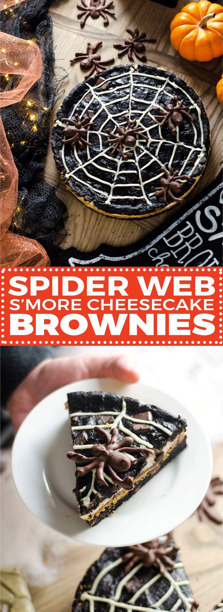 spider web smore cheesecake brownies halloween dessertshalloween fun halloween treatschocolate spidersdark - Halloween Chocolate Spiders