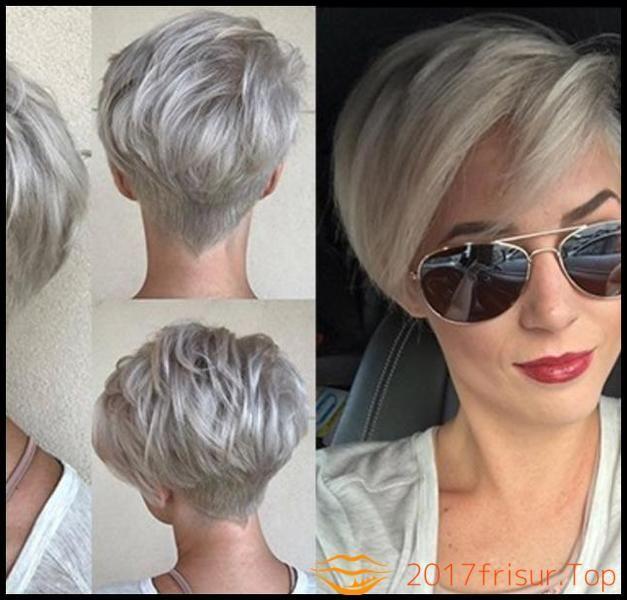 Trendfrisuren 2018 Damen Haarschnitte Und Frisuren Trends 2017 Mit Trend Short Silver Hair Short Hair Color Thick Hair Styles