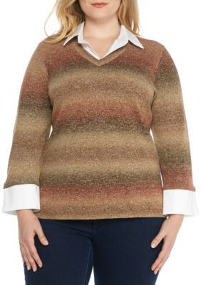 Kim Rogers Women's Plus Size 2Fer Ombre Sweater Shirt Combo - Clancy Brown - 1X