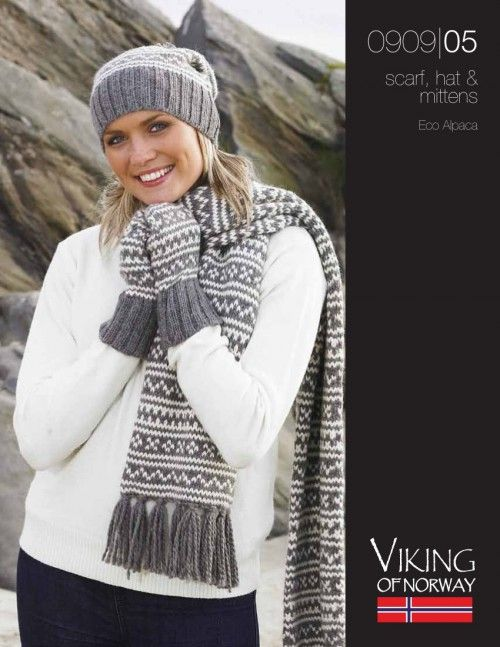 Eco Alpaca Scarf, Hat & Mittens - 0909-05 from by Viking at KnittingFever...