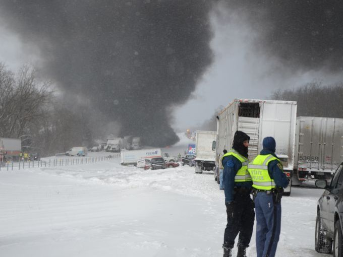 Deadly 193-car pileup on I-94 near Battle Creek, Michigan  Read more: http://www.bellenews.com/2015/01/13/world/us-news/deadly-193-car-pileup-on-i-94-near-battle-creek-michigan/#ixzz3OjgjiARF Follow us: @bellenews on Twitter | bellenewscom on Facebook