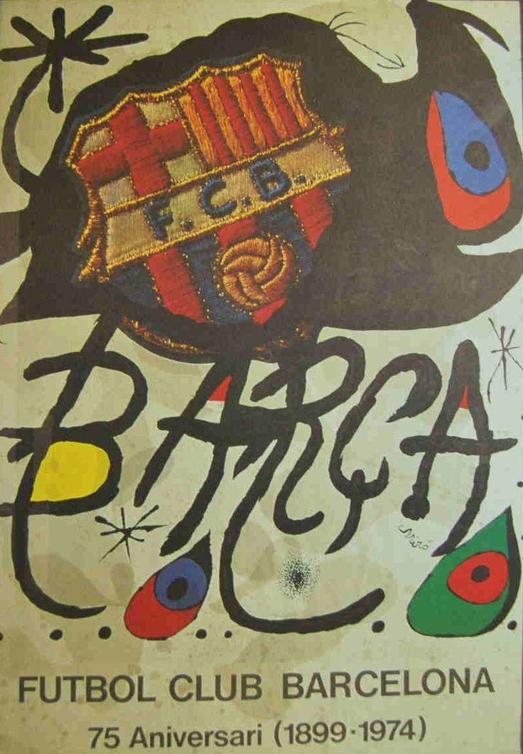 """Cartel del 75º aniversario del Barça de Joan Miró. Incluido en la carpeta """"Festa Fundació Futbol Club Barcelona. Diada d'Aniversari. 1899-2001"""". Serie de 4 impresiones offset. Edición de 1000 ejemplares. Medidas: 46 x 36,5 cm (carpeta); 44 x 34 cm (carteles). Incluye cuatro reproducciones offset de carteles."""