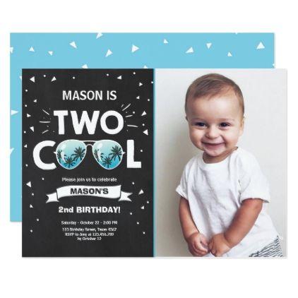 Two Cool Birthday Invitation Boy 2nd Blue
