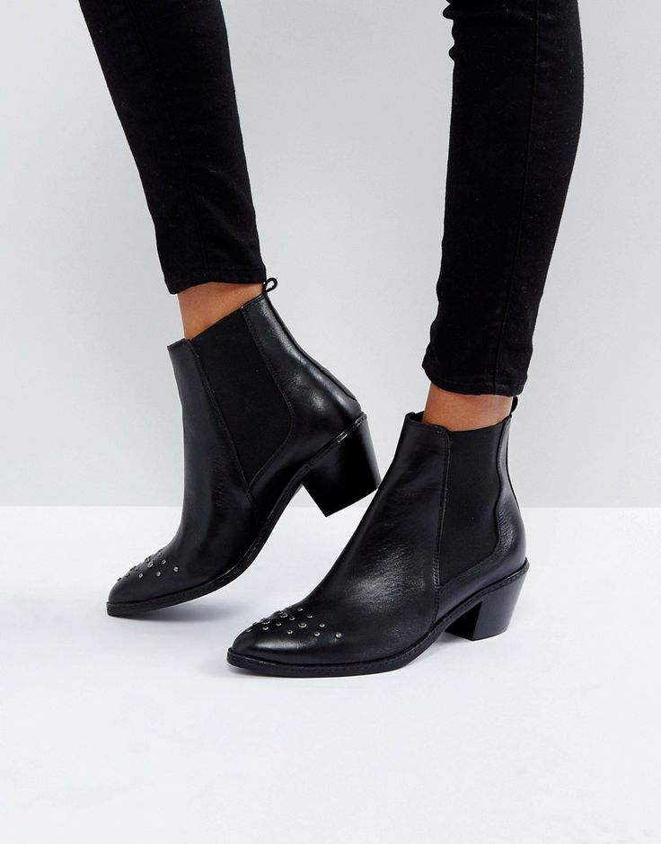 HUDSON LONDON H BY HUDSON STUD TOE LEATHER BOOT - BLACK. #hudsonlondon #shoes #