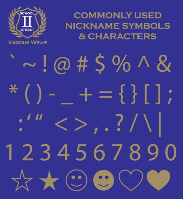 Commonly used characters and symbols for Year 12 Nicknames