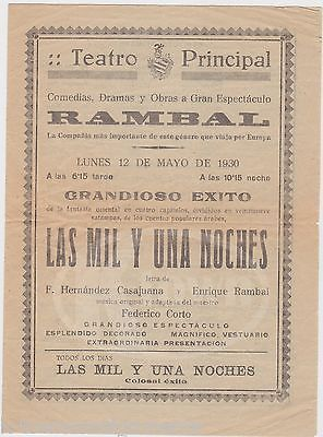 ARABIAN NIGHT ENRIQUE RAMBAL LAS MIL Y UNA NOCHES TEATRO PRINCICAL HANDBILL 1930