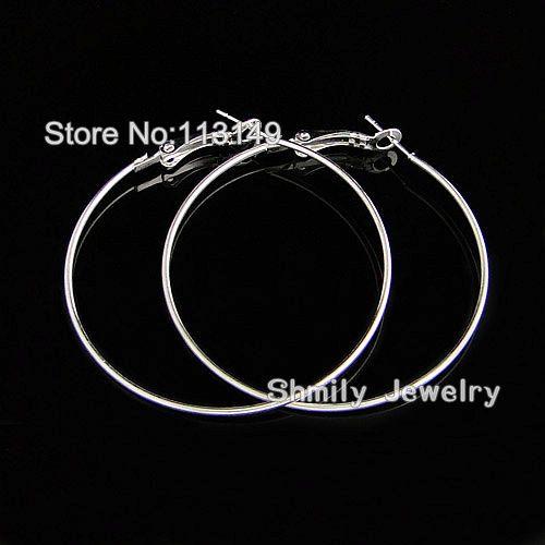 Бесплатная доставка продажи серебристый цвет большой круг крюк 50 мм жены баскетбольное кольцо серьги HE-501B