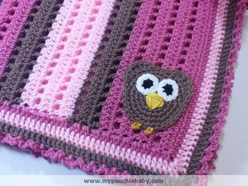 Crochet PATTERN - Big Eyed Owl Receiving Blanket por PoochieBaby