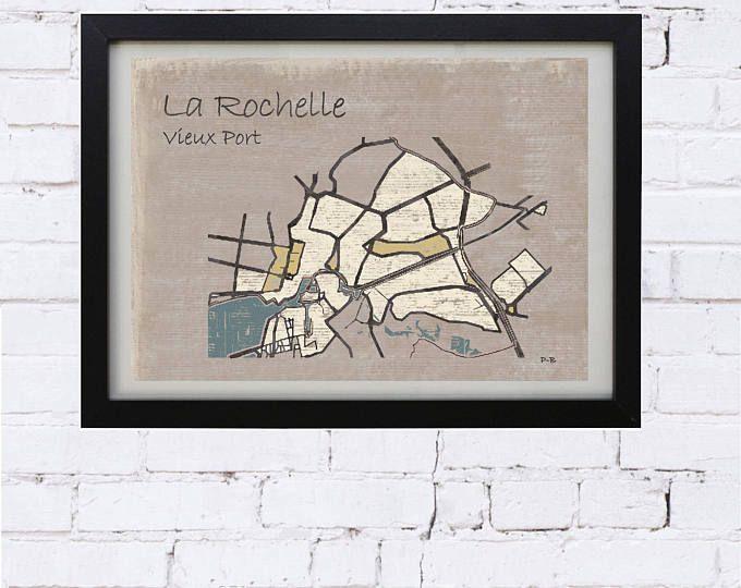 affiche vintage, carte la rochelle, affiche la rochelle, plan la rochelle, déco salon, déco bureau, carte ville, vieux port la rochelle,