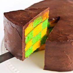 A Green & Gold Checkerboard Cake with Chocolate Malt Ganache to celebrate Australia Day