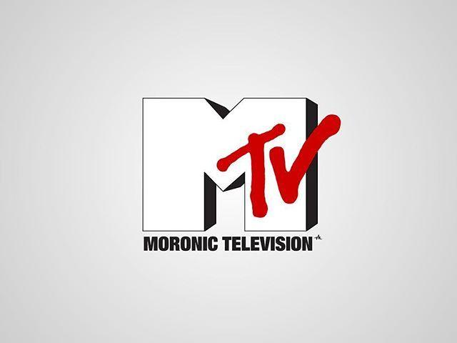I thought I'd post my previous series of #honestlogos from 2011 - #26 Moronic Television. #adbusting #parody #logo #satire #graphicdesign #viktorhertz #mtv #television #musictelevision #moronic