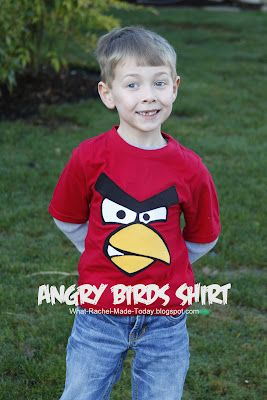 DIY Angry Birds t-shirt.  MY tutorial (and my handsome little man).