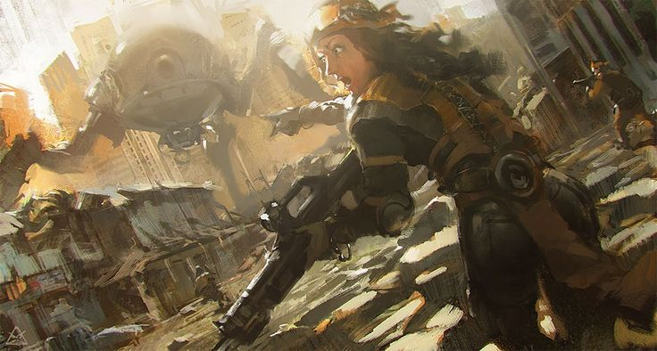 Town fight Picture  (2d, sci-fi, robot, girl, woman, ruins, battle, fight, soldiers)