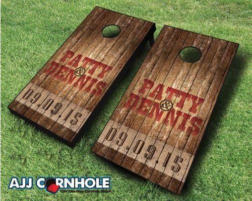 country rustic name u0026 date wedding cornhole set - Corn Hole Sets