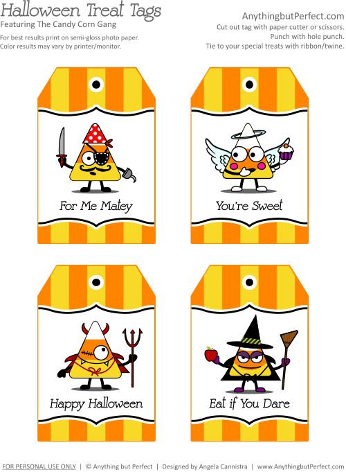 133 best halloween printables images on pinterest holidays free printable treat tags featuring the candy corn gang negle Image collections