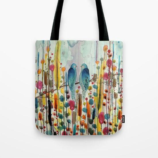 we :: bird tote bag